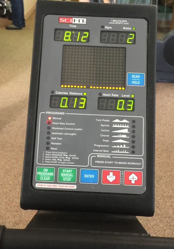 Rehab at the hospital on a barely-moving stationary bike.