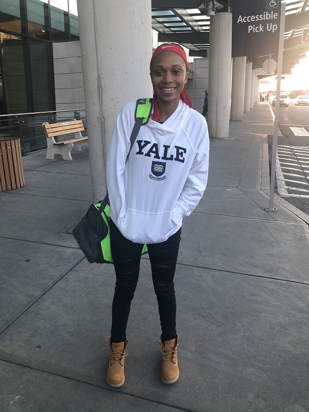 Laila Booker in a Yale sweatshirt.