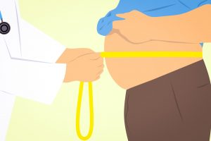 Illustration of obese man's stomach being measured by a doctor